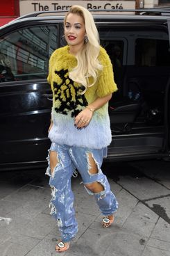 Rita Ora seen arriving at Capital FM on March 28, 2014 in London, England.