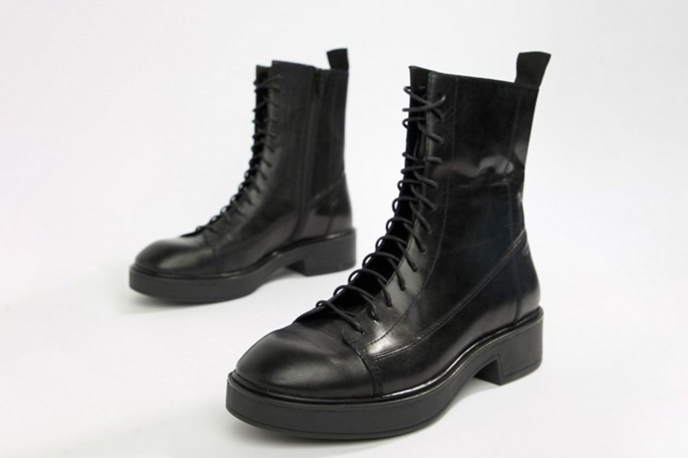Vagabond Diane Lace-Up Black Leather Military Boots