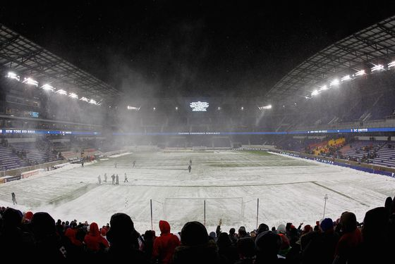 Red Bull arena during a weather delay prior to the match between the New York Red Bulls and the D.C. United at Red Bull Arena on November 7, 2012 in Harrison, New Jersey.