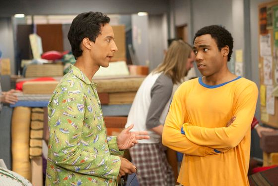 "COMMUNITY -- ""Digital Exploration of Interior Design"" Episode 313 -- Pictured: (l-r) Danny Pudi as Abed, Donald Glover as Troy -- Photo by: Mi"