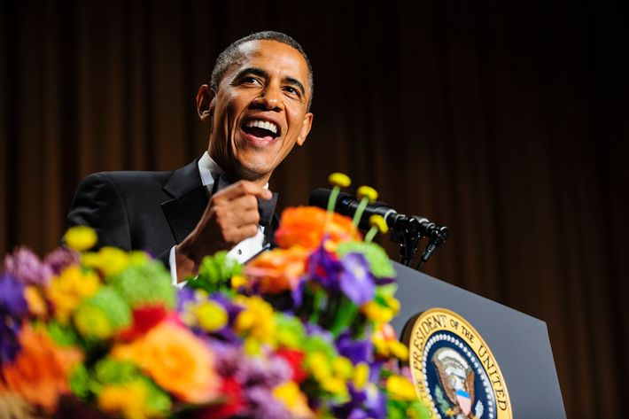 WASHINGTON, DC - APRIL 27:  U.S. President Barack Obama tells jokes poking fun at himself as well as others during the White House Correspondents' Association Dinner on April 27, 2013 in Washington, DC. The dinner is an annual event attended by journalists, politicians and celebrities. (Photo by Pete Marovich-Pool/Getty Images)