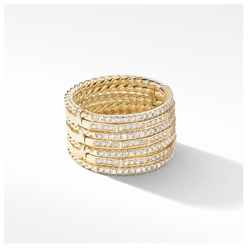 Stax Full Pavé Ring in 18K Yellow Gold