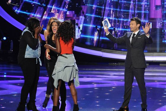 AMERICAN IDOL: L-R: Candice Glover, Angie Miller, Kree Harrison, Amber Holcomb and Ryan Seacrest on AMERICAN IDOL Thursday, April 25 (8:00-9:00 PM ET/PT) on FOX. CR: Ray Mickshaw/ FOX. Copyright: FOX.