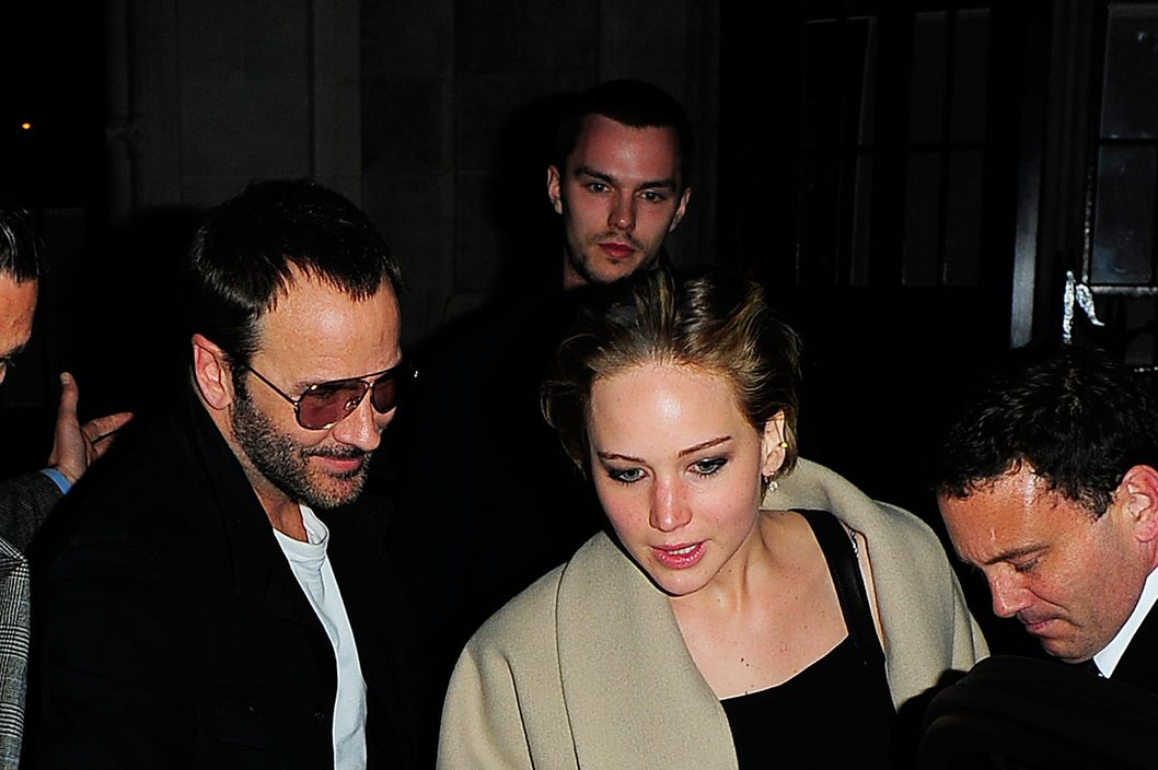 Jennifer Lawrence and her boyfriend Nicholas Hoult leave The Chilton Firehouse restaurant and bar in Marylebone. Pictured: Tom Ford, Jennifer Lawrence and Nicholas Hoult