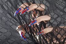 New York State, USA --- Woman's hand with long sharp fingernails holding netting.