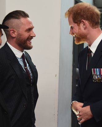Tom Hardy and Prince Harry at the premier of The Revenant.