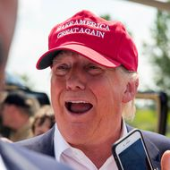GOP Presidential Candidate Donald Trump Arrives In Iowa To Campaign At State Fair