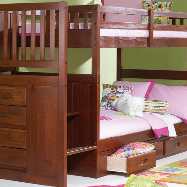 Discovery World Furniture Mission Twin Over Twin Staircase Bunk Bed With 3 Drawers