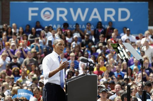 COLUMBUS, OH - AUGUST 21:  U.S. President Barack Obama speaks at Capital University on August 21, 2012 in Columbus, Ohio.  President Obama began a two-day tour of Ohio and Nevada to discuss the choice in this election between two different visions of how to expand the economy.  (Photo by Matt Sullivan/Getty Images)
