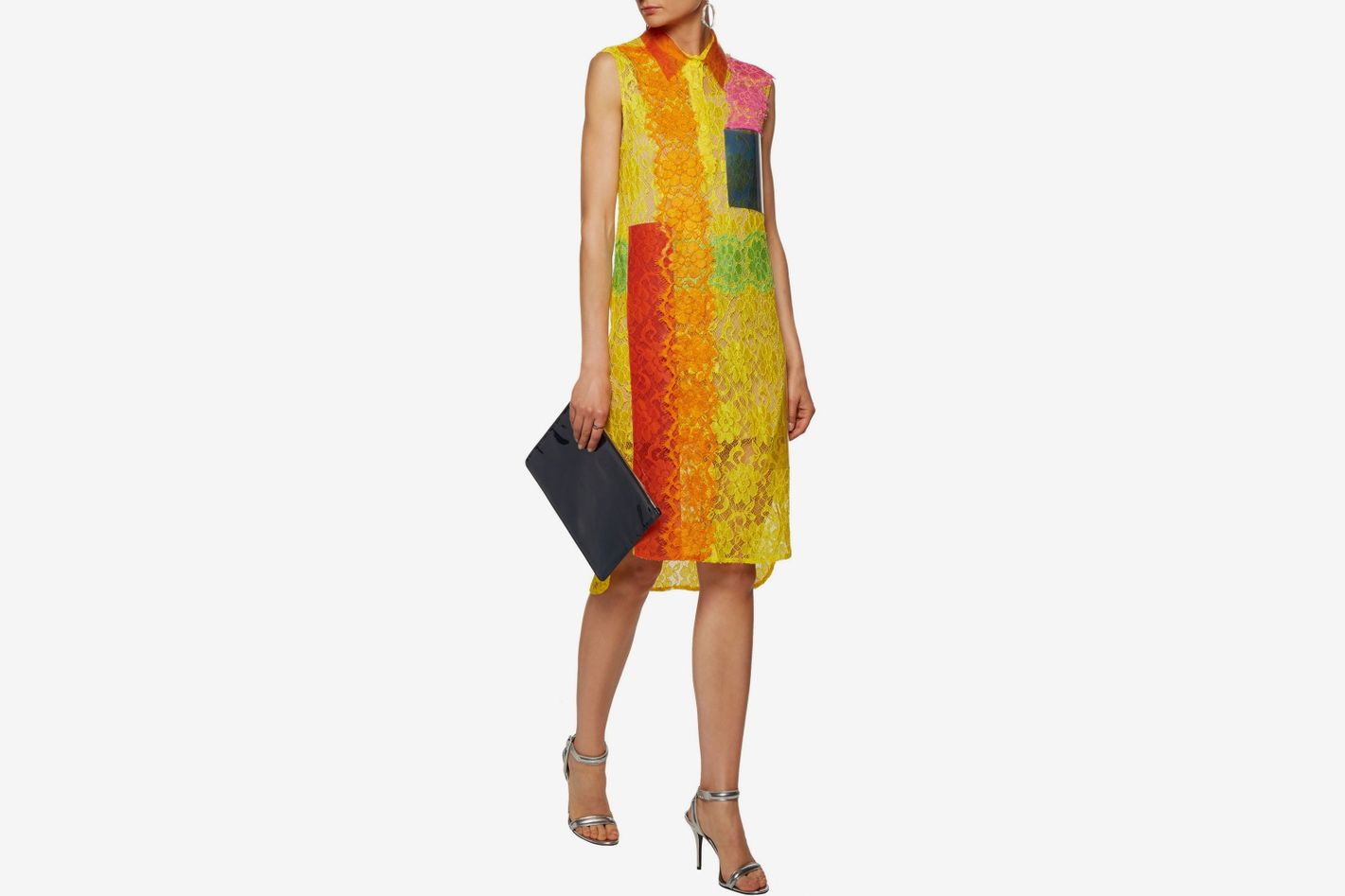 Christopher Kane PVC-paneled appliquéd corded lace dress