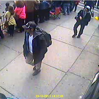 BOSTON, MA - APRIL 15: In this image released by the Federal Bureau of Investigation (FBI) on April 18, 2013, two suspects in the Boston Marathon bombing walk near the marathon finish line on April 15, 2013 in Boston, Massachusetts. The twin bombings at the 116-year-old Boston race resulted in the deaths of three people with more than 170 others injured.  (Photo provided by FBI via Getty Images)