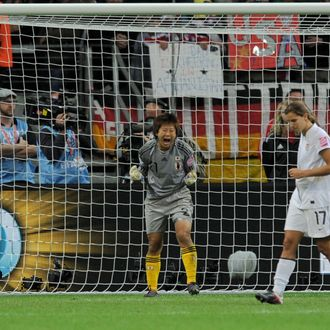 Japan's goalkeeper Ayumi Kaihori celebrates saving a penalty during the FIFA Women's Football World Cup final match Japan vs USA on July 17, 2011 in Frankfurt am Main, western Germany. AFP PHOTO / PATRIK STOLLARZ (Photo credit should read PATRIK STOLLARZ/AFP/Getty Images)