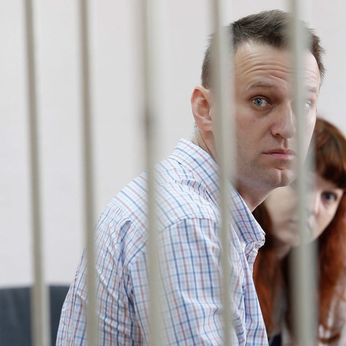 Russian opposition leader Alexei Navalny attends his trial at the Zamoskvoretsky District Court in Moscow, Russia on September 17, 2014.