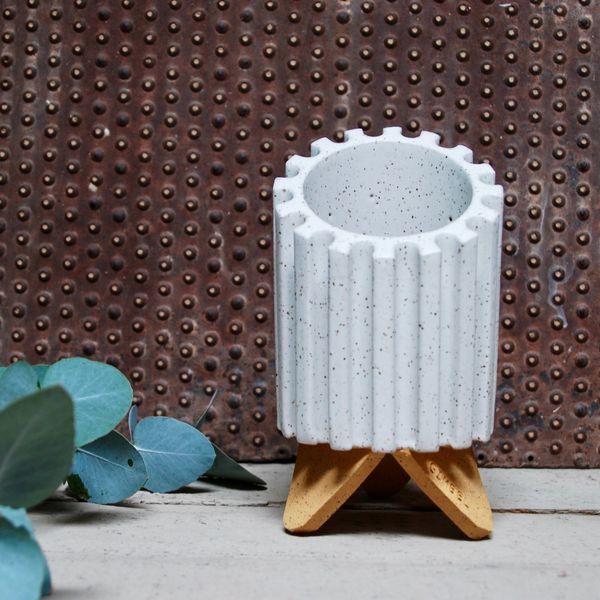 Dustin Gimbel Pottery Beveled Cog Planter in Matte Vanilla Bean
