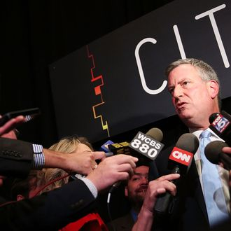 Democratic nominee for New York Mayor Bill de Blasio speaks to the media following an appearance at