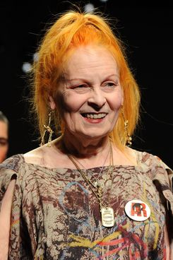 Designer Vivienne Westwood aknowledges the applause of the public after the Vivienne Westwood fashion show