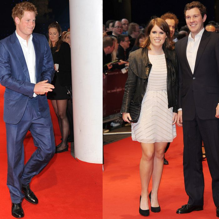 Prince Harry, Princess Eugenie, and Jack Brooksbank.