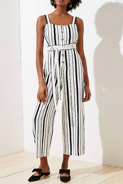 Loft Petite Striped Strappy Jumpsuit