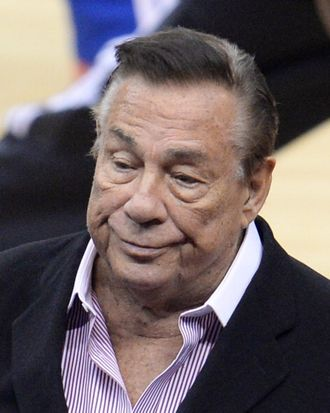 Los Angeles Clippers owner Donald Sterling attends the NBA playoff game between the Clippers and the Golden State Warriors on April 21, 2014 at Staples Center in Los Angeles, California. The NBA banned Sterling for life for 'deeply offensive and harmful' racist comments that sparked a national firestorm. NBA Commissioner Adam Silver hit Sterling with every penalty at his disposal, fining him a maximum $2.5 million dollars and calling on other owners to force him to sell his team.