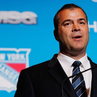 Alain Vigneault speaks to the media after being introduced as the New York Rangers Head Coach during a press conference at Radio City Music Hall on June 21, 2013 in New York City.