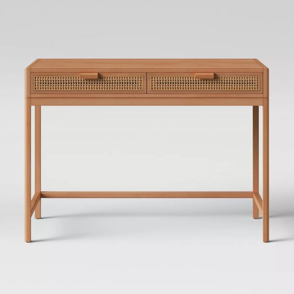 Opalhouse Minsmere Wood Writing Desk with Caned Drawers Brown