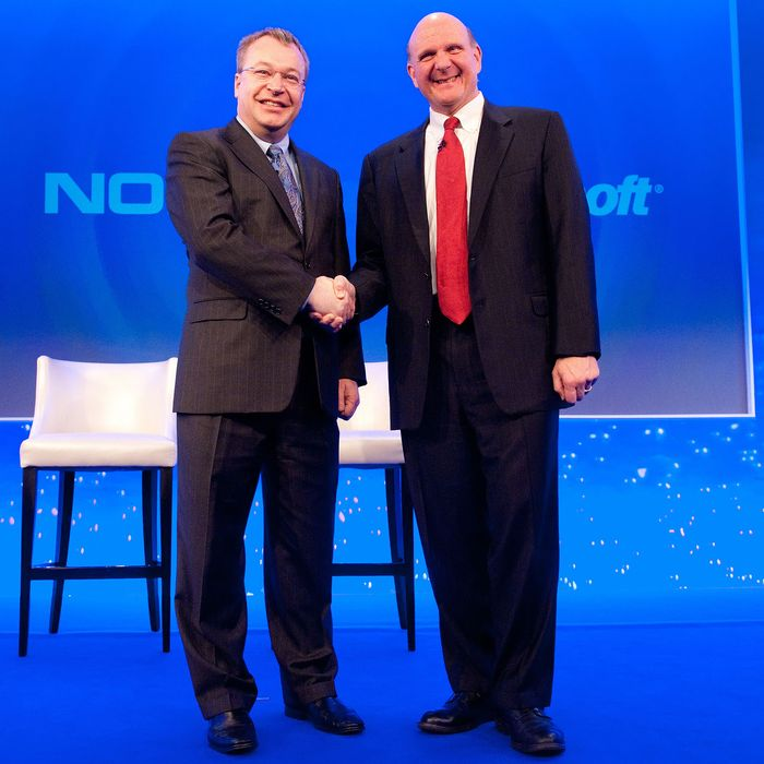 Nokia Chief Executive Stephen Elop (L) shakes hands with Microsoft CEO Steve Ballmer (R) during the Nokia Strategy and Financial Briefing at the Intercontinental Hotel in central London, on February 11, 2011. Nokia, the world's largest mobile phone maker, said Friday it was joining forces with US giant Microsoft in a major corporate strategy shake-up that left investors disappointed. The Finnish phone maker said Microsoft's Windows Phone would now serve as its primary smartphone platform in a