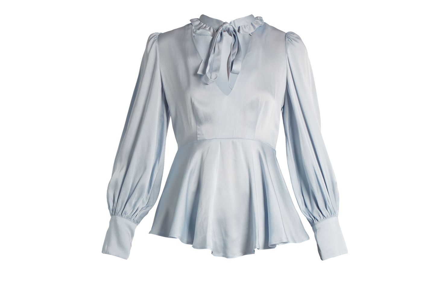 ALEXACHUNG Tie Neck Satin Blouse