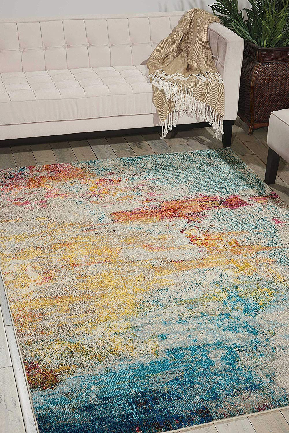 "Nourison Celestial Modern Abstract Area Rug, 5'3"" x 7'3"", Multicolor Grey"