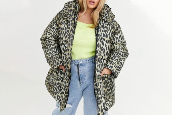Curve Animal Puffer Jacket with Tie Waist
