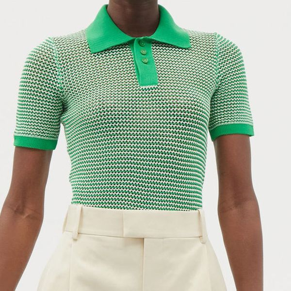 Bottega Veneta Striped Cotton-Blend Knitted Polo Top
