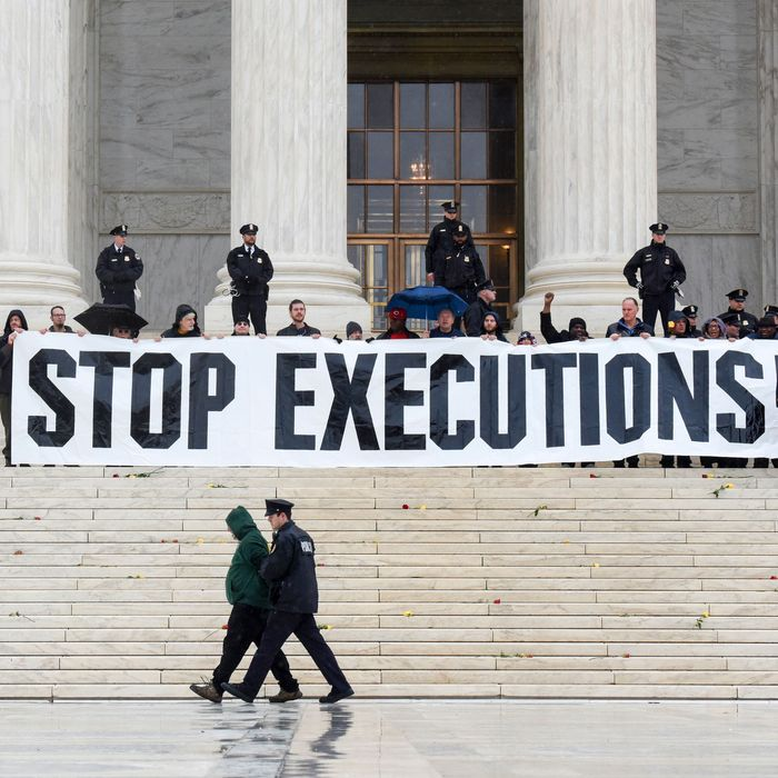 Protesters opposed to the death penalty.