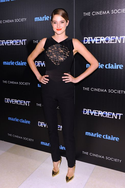 "Actress Shailene Woodley attends the Marie Claire & The Cinema Society screening of Summit Entertainment's ""Divergent"" at Hearst Tower on March 20, 2014 in New York City."