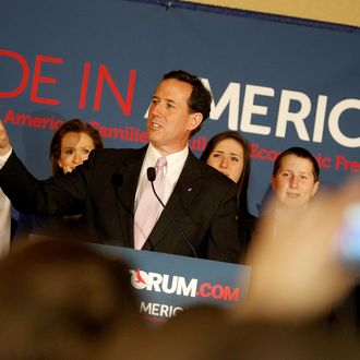 LAFAYETTE, LA - MARCH 13: Republican presidential candidate, former U.S. Sen. Rick Santorum addresses supporters after winning the both Alabama and Mississippi primaries on March 13, 2012 in Lafayette, Louisiana. Louisiana?s primary will be decided on March 24th. (Photo by Sean Gardner/Getty Images)