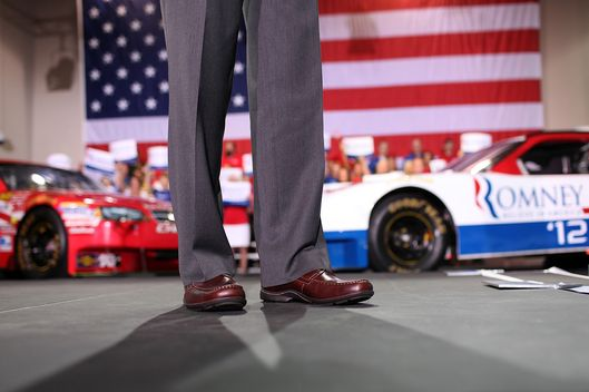 Republican vice presidential candidate, U.S. Rep. Paul Ryan (R-WI) shoes and pants are seen as he speaks during a campaign rally at the NASCAR Technical Institute on August 12, 2012 in Mooresville, North Carolina.