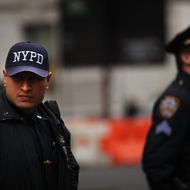 "Members of the New York Police Department (NYPD) are viewed on January 26, 2012 in New York City. After New York City's police commissioner Raymond Kelly appeared in the film ""The Third Jihad"" Muslim groups are asking him to step down. The groups say that the film they depicts Islam and its followers in a bad light. Approximately 20 activists held a news conference on the steps of City Hall criticizing Kelly for giving an interview to the producers of the film, which warns against the dangers of radical Islam. The film was shown to hundreds and maybe thousands of NYPD officers for training purposes."