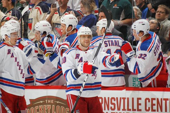 ST. PAUL, MN - MARCH 27: Marian Gaborik #10 of the New York Rangers celebrates after scoring a goal against the Minnesota Wild during the game at the Xcel Energy Center on March 27, 2012 in St. Paul, Minnesota. (Photo by Bruce Kluckhohn/NHLI via Getty Images)
