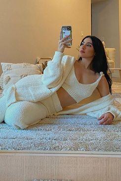 Fashion Nova Living In It Cozy 3 Piece Pant Set - Ivory