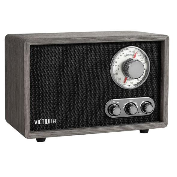 Victrola Linden Wood Bluetooth Radio, Grey