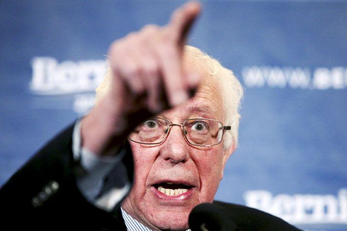 U.S. Democratic presidential candidate Senator Bernie Sanders gestures as he speaks during a news conference in Hanover
