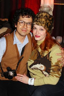 PARK CITY, UT - JANUARY 20:  Actors Geoffrey Arend (L) and Christina Hendricks attend Google Music at TAO Nightclub presented by T-Mobile held at T-Mobile Google Music Village at The Lift on January 20, 2012 in Park City, Utah.  (Photo by Joe Scarnici/Getty Images for T-Mobile)