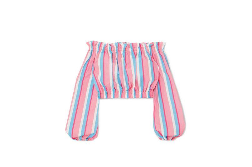 STAUD Fair off-the-shoulder striped stretch-cotton poplin top