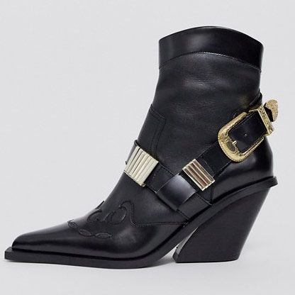 ASOS Design Reckless Premium Leather Western Boots