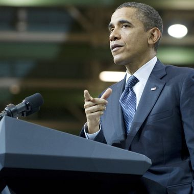 US President Barack Obama speaks on the economy after touring the Boeing 787 Dreamliner airplane production facility in Everett, Washington, February 17, 2012. AFP PHOTO / Saul LOEB (Photo credit should read SAUL LOEB/AFP/Getty Images)