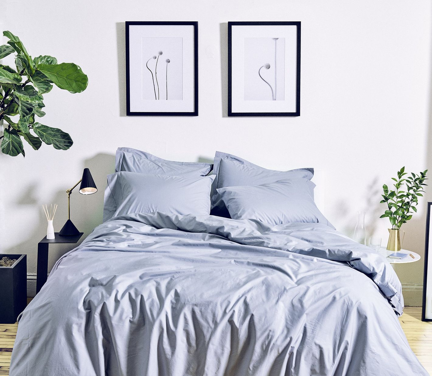 Snowe Percale Duvet Cover in Slate Blue