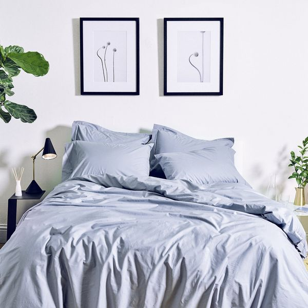 Snowe Percale Duvet Cover in Slate Blue, Full/Queen