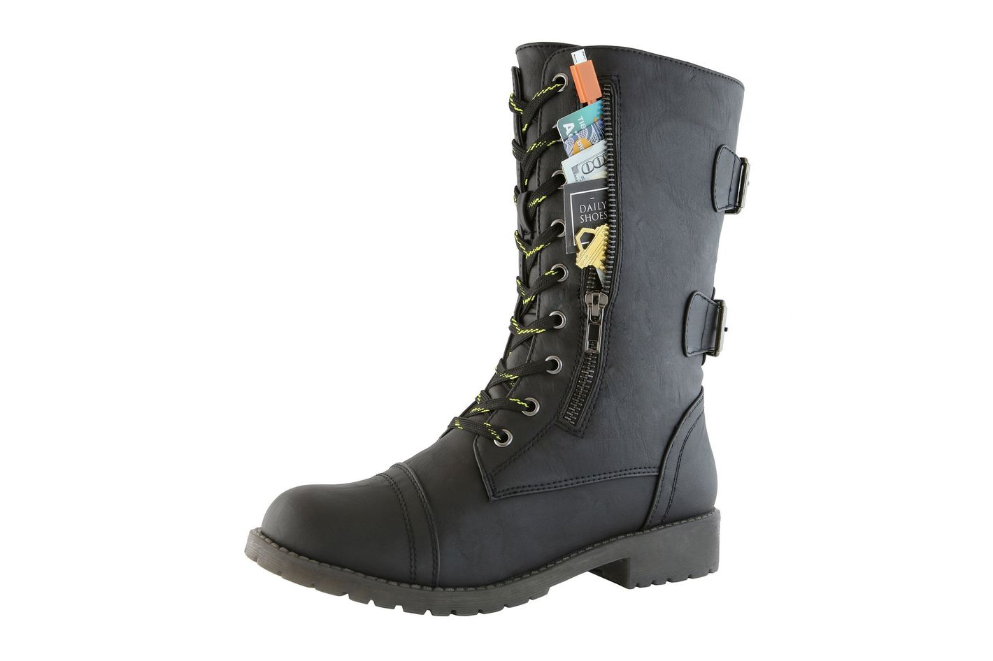 ef3f146b156ba Daily Shoes Women s Combat Lace-up Mid-Calf Pocket Boots