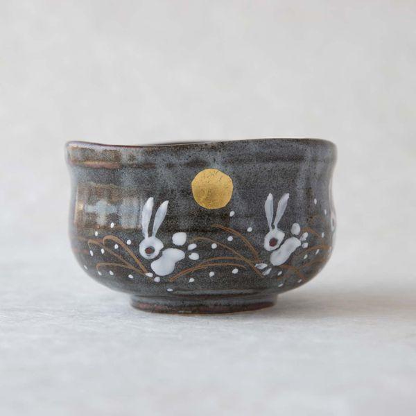 Kutani Ware Golden Moon and Rabbit Matcha Bowl