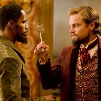 Jamie Foxx, left, and Leonardo DiCaprio in Columbia Pictures'