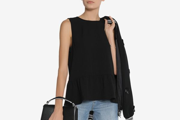 Ganni textured crepe peplum top