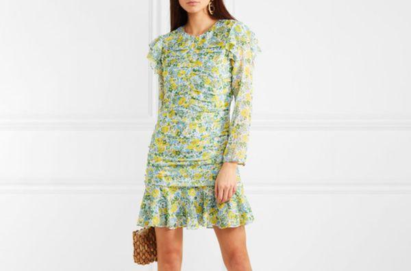 Veronica Beard Ruched Floral Mini Dress